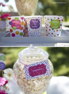Pink Polka Dot Party Popcorn Boxes | Paper & Cake | Photo by @Missy Marie Photography