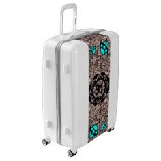 #pink - #Blue Diamonds Monogram with Pink Marble Luggage