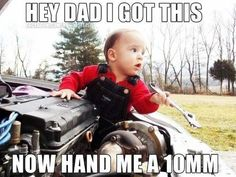 carter the Mechanic= just like his daddy! little carter man