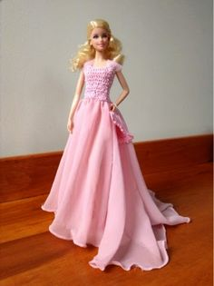 Tess and Annie: Pink Pearl Elegance Gown for Barbie-free pattern