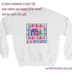 Sweat Shirt, Artwork Prints, Love Of My Life, Note Cards, Are You Happy, My Etsy Shop, Graphic Sweatshirt, Make It Yourself, Quilts