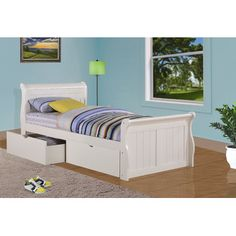 Donco Kids Sleigh Bed with Dual Underbed Drawers