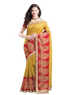 GCS Fancy Mustard and Red  Art Pashmina Silk Saree. Buy now- http://www.ghatkoparclothstores.com/sarees/summer-collection/gcs-fancy-mustard-and-red-art-pashmina-silk-saree