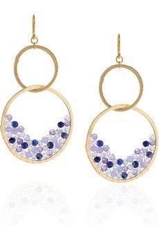 Chan Luu  14-karat gold-vermeil multi-stone hoop earrings
