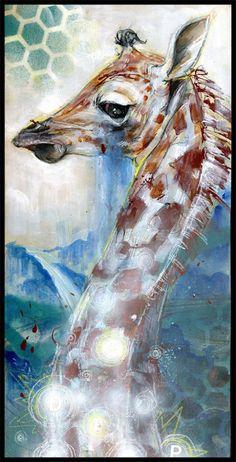 Giraffe Art Print - Giraffe Artwork - Wall Art - Wall Decor - Art Poster - Deep Lagoon by Black Ink Art