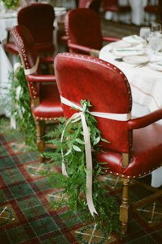 Love the leafy chair ties on these #wedding rehearsal chairs! From http://snippetandink.com/gallery/rustic-country-club-rehearsal-dinner/?imgid=43252  Photo Credit: http://ashleyseawellphotography.com/