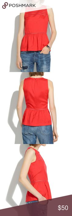 💥Madewell size XS red silk blouse💥 Consider us completely taken by this ladylike peplum top in softly structured silk. Our design team modeled the delicate lace insets after Victorian underpinnings.  True to size.  Silk.  Dry clean.  Import. Madewell Tops Blouses