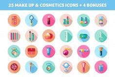 25 Makeup & Cosmetics Icons + Bonus by Decorwith.me Shop on Creative Market
