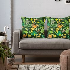 """""""Autumn Leaves on Dark Green Background"""" Throw Pillow by victorsboutique 