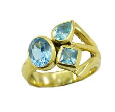 good Blue topaz CZ Gold Plated Blue Ring Designer US 6789