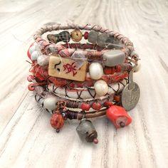 Silk Road Gypsy Bangle Stack - Cairo - 6 Bohemian Tribal Bracelets, Silk Wrapped and Beaded I Love Jewelry, Jewelry Crafts, Beaded Jewelry, Vintage Jewelry, Bohemian Jewelry, Jewelry Design, Jewelry Making, Jewellery, Fabric Bracelets