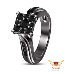 0.60 CT Round Cut AAA Diamond In 14k Black Gold Plated Women's Engagement Ring 5 #Affoin8 #WomensWeddingEngagementRing