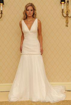 Heidi Elnora - Spring 2013 - Mailbu Dana Sleeveless A-Line Wedding Dress with a Ruched Drop Waist and V-Neck