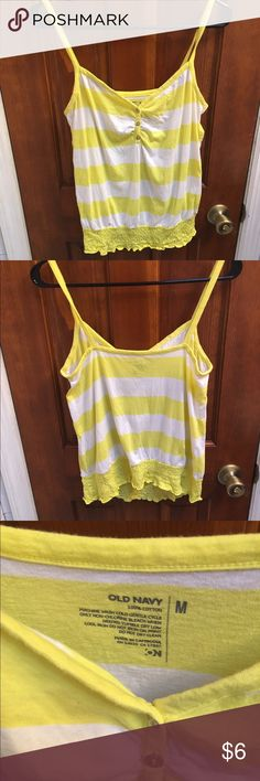 Yellow and White Tank Top M Old Navy Size M. Nice Shape. Old Navy Tops Tank Tops
