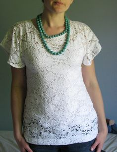 DIY lace shirt, I'm going to have to try this pattern with the ruffle fabric I just bought!  Exactly what I was looking for.