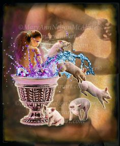 Circe's Cup original digital artwork shows Circe 'bathing' in her magical cup as the pigs, who were once men, jump from it's rim. Mary, Movies, Movie Posters, Film Poster, Films, Popcorn Posters, Film Books, Movie, Film Posters