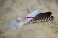 Prayer Feather  Blessing Feather  Pink shell by HollyHawkDesigns