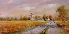 Szántó Lukács festőművész Erzsébet úti malom 30x60 cm olajfestmény