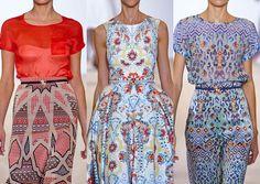 Temperley S/S 2013-Structured Mosaic Expression – Modern Folk prints -Ikat and Tapestry Experimentation – Ethnic Crafts - Engineered Digital prints - Elegant Femininity