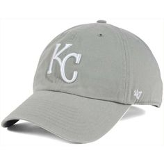 '47 Brand Kansas City Royals Gray White Clean Up Cap ($28) ❤ liked on Polyvore featuring accessories, hats, grey, major league baseball hats, grey baseball cap, mlb baseball hats, crown cap hats and white cap