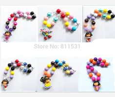 Aliexpress.com : Buy 6pcs//set/lots Little girl character princess pendant bubblegum child/girl/kid chunky bead necklace for DIY jewelry decoration!! from Reliable beaded wedding necklace suppliers on Yiwu Hongming E-Business Firm