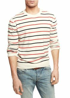 HE BY MANGO - Linen cotton-blend striped sweater #SS14 #Menswear