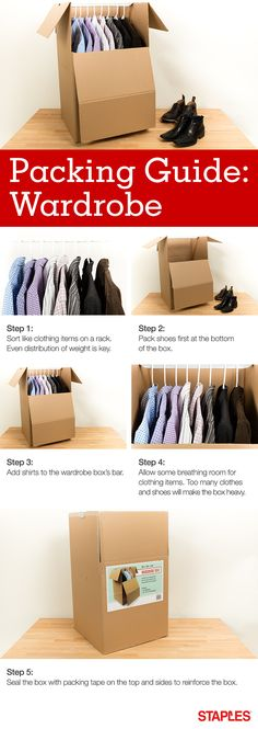 Shirts, pants, suits, oh my! Make quick work of packing your closet when moving (without sacrificing organization) using this handy guide. Organizing For A Move, Ikea Closet, Step Workout, Packing To Move, Moving And Storage, Moving Tips, College Dorm Rooms, Getting Organized, Home Organization