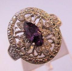 $75.00 Edwardian Style Genuine Amethyst & White Topaz Sterling Silver Ring Size 7 Vintage Jewelry Jewellery FREE SHIPPING by BrightEyesTreasures on Etsy