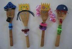 Learning the story of Purim is so much more fun when you can make puppets to act it out with! These cute Characters of Purim Spoon Puppets are easy Purim crafts for children to help make and play with when they're done. Crafts For Kids, Arts And Crafts, Diy Crafts, Mishloach Manos, Spoon Craft, Jewish Festivals, Jewish Crafts, Marionette, Vacation Bible School