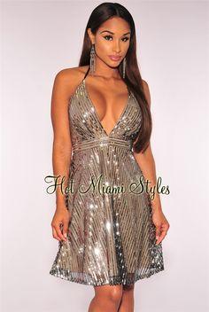Silver Sequins Halter Babydoll   $119.99