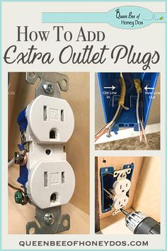 How To Add Additional Outlet Plugs . See how to add additional outlet plugs with this easy DIY from Queen Bee of Honey Dos, and never struggle to find an outlet Add Electrical Outlet, Home Electrical Wiring, Electrical Outlets, Installing Electrical Outlet, Electrical Projects, Electronics Projects, Home Improvement Loans, Home Improvement Projects, Home Projects