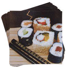 APRÈS Serviette Sushi Bar    Après-Servietten servieren Ihnen einen optischen Leckerbissen für jeden Geschmack, jeden Anlass und jede Jahreszeit. Dabei machen die vielen verschiedenen Designs, Farben und Motive jede Menge Appetit auf Vielfalt und Abwechslung - auch ohne aufwändige Falttechniken.    Größe: Breite 33 x Tiefe 33 x Höhe 0,01 cm, 20 Stück  Material: Papier...