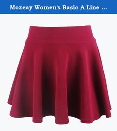 Moxeay Women's Basic A Line Pleated Circle Stretchy Flared Skater Skirt (X-Large, Wine Red). Material:Polyester+Nylon Flared silhouette, pleated mini skirt with high waist Elastic Stretch waist sits comfortably on your hip Slip-on design with a skirt length that falls mid-thigh Perfect for casual wear or for a special night out Color:Black,Blue,Wine Red,Red Apparel Occasion And LifeStyle: Business, Party, Formal, Church, School, Business Casual Wash On Cold / Dry On Low Heat Size: S / M…