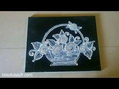 Flower basket rangoli in black and white | Innovative rangoli designs by Poonam Borkar - YouTube