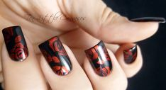Hello readers, This week's mani is a simple stamped design but the metallic red really makes this mani stand out. I started with my favorite black gel, yep, you guessed it, LeChat Black Velvet. Two...