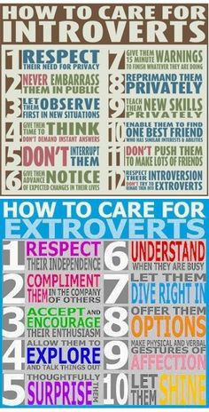 How to care for introverts vs. How to care for extroverts