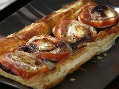 Hojaldre de tomate, berenjena y queso