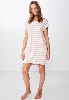 To the knee length. Capped sleeve t- shirt. Light soft and drapey fabric sits on the body beautifully. Sleep Shirt, Shirt Dress, T Shirt, Cap Sleeves, Recovery, Short Sleeve Dresses, Pink, Cotton, Glow