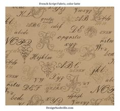 French Script Fabric, latte