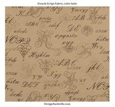 French Script Fabric, latte