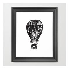 Wings & Dreams Framed Art Print ($37) ❤ liked on Polyvore featuring home, home decor, wall art, framed art prints, word wall art, acrylic wall art, home wall decor, black and white home decor and framed wall art