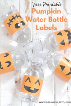 Add some jack o'lantern fun to your Halloween party water bottles with these free printable Pumpkin Water Bottle Labels.  Check out the free printable on our blog here.  #pumpkinwaterbottlelabelsfree #pumpkinwaterbottlelabels #freeprintablehalloween Childrens Halloween Party, Diy Halloween, Halloween Books, Halloween Desserts, Halloween Signs, Halloween Activities, Halloween 2020, Halloween Bottle Labels, Kids Labels