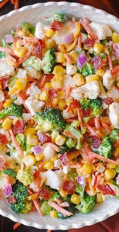 Salad Bar, Soup And Salad, Healthy Salads, Healthy Recipes, Diet Recipes, Recipies, Broccoli Cauliflower Salad, Keto Cauliflower, Broccoli Salad With Bacon