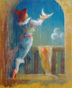 """Saatchi Art Artist Anna Ravliuc; Painting, """"Strawberry Moon"""" #art Strawberry Moons, Moon Art, Surreal Art, Cabaret, Surrealism, Theatre, Saatchi Art, Anna, Magic"""