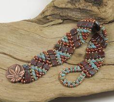 SUPERDUO CZECHMATE TILE Wiggle Bracelet, Umber Picasso Czechmate Tiles, Blue Turquoise Picasso Super Duos, Miyuki Seed Beads (DR79)