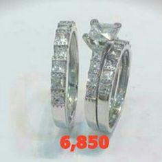 Tríos Matrimoniales Oro Blanco 14 kilates Visita nuestra variedad en:  www.mvalentinjoyeria.com