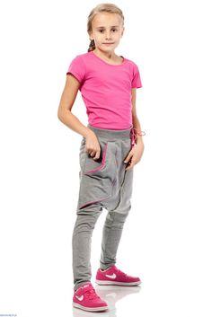 Spodnie dziewczęce baggy bawełna modne wygodne KI009