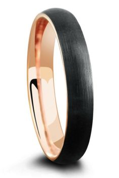 Mens or womens 4mm black tungsten wedding ring with a brushed finish and a 18k rose gold interior.