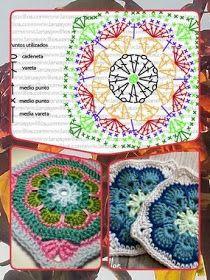 Delicadezas en crochet Gabriela: Manta de cuadrados, círculos y triángulos de la abuelita