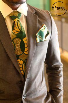Ankara Tan & Green Tie by MenoguDesigns on Etsy, $20.00